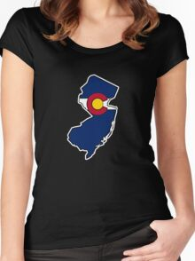 New Jersey outline Colorado flag Women's Fitted Scoop T-Shirt