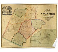 Map of Concord Massachusetts (1852) Poster
