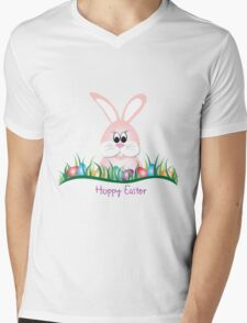 Cute Pink Easter Bunny and Eggs Mens V-Neck T-Shirt
