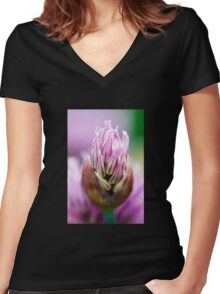 Chive Blossom 5 Women's Fitted V-Neck T-Shirt