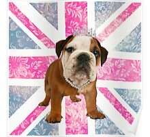 British Bulldog Floral Union Jack Poster