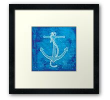 Anchor, Illustration Over Nautical Map Framed Print