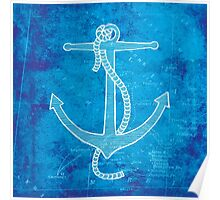 Anchor, Illustration Over Nautical Map Poster