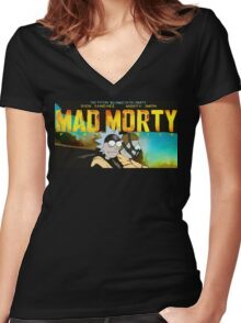 MAD MORTY!!! - www.shirtdorks.com Women's Fitted V-Neck T-Shirt