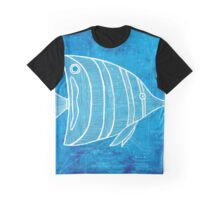 Fish, Illustration Over Nautical Map Graphic T-Shirt