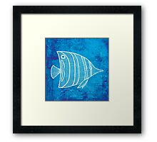 Fish, Illustration Over Nautical Map Framed Print