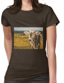 Gretchen, Brown Swiss Cow Womens Fitted T-Shirt