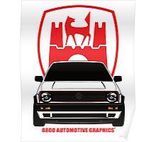 VW Golf GTI MK2 Wolfsburg White Edition Poster