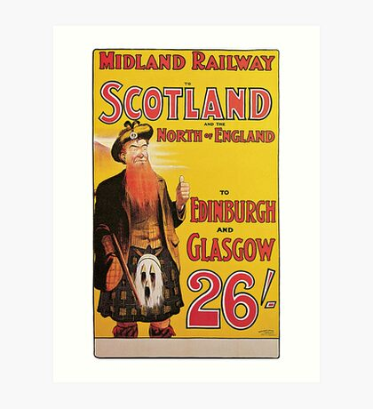 Railway travel to Scotland advert, higlander Art Print