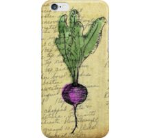 Beet, Illustration Over Recipe Handwriting iPhone Case/Skin