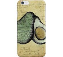 Avocado, Illustration Over Recipe Handwriting iPhone Case/Skin