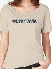 #LINCTAVIA (Navy Text) Women's Relaxed Fit T-Shirt
