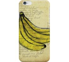 Bananas, Illustration Over Recipe Handwriting iPhone Case/Skin