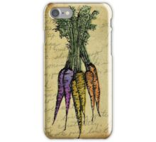 Carrots, Illustration Over Recipe Handwriting iPhone Case/Skin