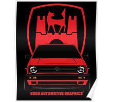 VW Golf GTI MK2 Wolfsburg Red Edition Poster