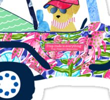 Preppy Jeep Golden Retriever Puppy - Island Vacation Sticker