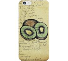 Kiwi, Illustration Over Recipe Handwriting iPhone Case/Skin