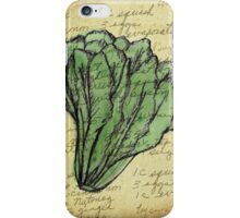 Lettuce, Illustration Over Recipe Handwriting iPhone Case/Skin