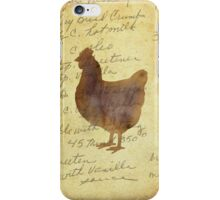 Chicken, Illustration Over Recipe Handwriting iPhone Case/Skin
