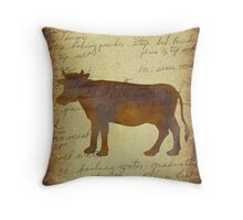 Cow, Illustration Over Recipe Handwriting Throw Pillow