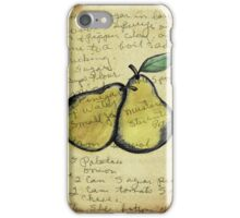 Pears, Illustration Over Recipe Handwriting iPhone Case/Skin