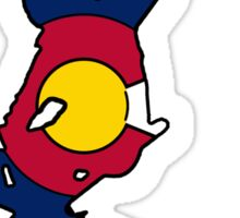 Colorado flag skier Sticker