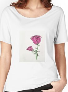 a pink rose Women's Relaxed Fit T-Shirt
