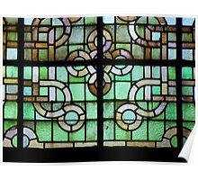 Pattern on stained glass window Poster