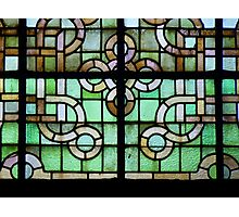 Pattern on stained glass window Photographic Print