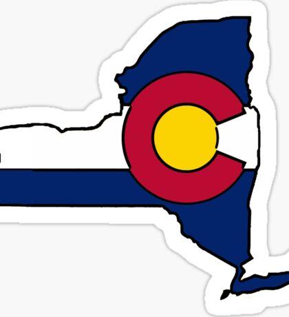 New York outline Colorado flag Sticker