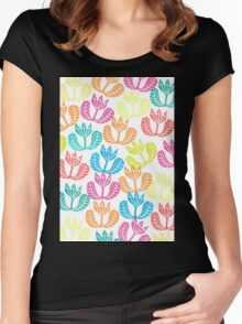 Block print flowers Women's Fitted Scoop T-Shirt