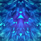 Deep Blue Collosal Low Poly Triangle Pattern -  Modern Abstract Cubism  Design by badbugs