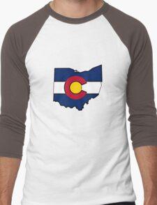 Ohio outline Colorado flag Men's Baseball ¾ T-Shirt