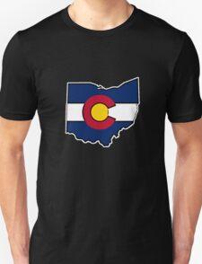 Ohio outline Colorado flag Unisex T-Shirt