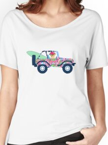 Preppy Jeep Golden Retriever Puppy - Island Vacation Women's Relaxed Fit T-Shirt