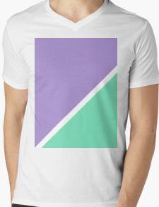 Modern Turquoise purple color block pattern  Mens V-Neck T-Shirt