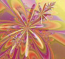 Orange Pink Flowers Fine Fractal Art by Vicky Brago-Mitchell