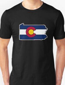 Pennsylvania outline Colorado flag Unisex T-Shirt