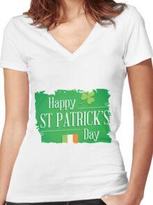 patricks day irish flag Women's Fitted V-Neck T-Shirt