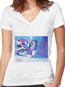 Star Kitten - Animal Art by Valentina Miletic Women's Fitted V-Neck T-Shirt