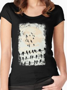 Birds Black Women's Fitted Scoop T-Shirt
