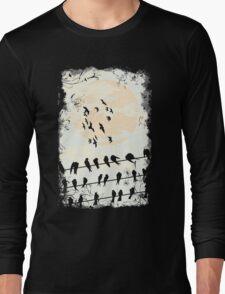 Birds Black Long Sleeve T-Shirt