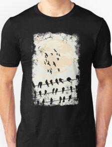 Birds Black Unisex T-Shirt