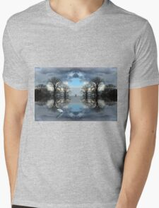 trees reflection Mens V-Neck T-Shirt