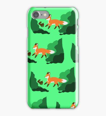 Fox chasing rabbit - green iPhone Case/Skin