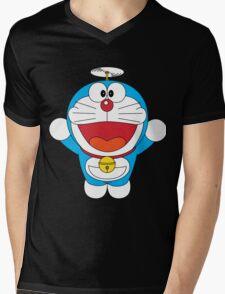 Doraemon Flying Mens V-Neck T-Shirt