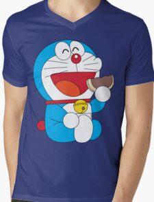 Doraemon Dorayaki Mens V-Neck T-Shirt
