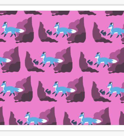 Fox and rabbit - pink  Sticker