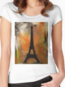Eiffel Tower Rustic Women's Fitted Scoop T-Shirt
