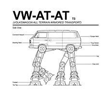 VW Westfalia AT-AT T3 Blueprint Photographic Print